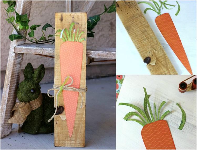 Frühlingsdeko aus Holz selber machen Holzbrett Karotte