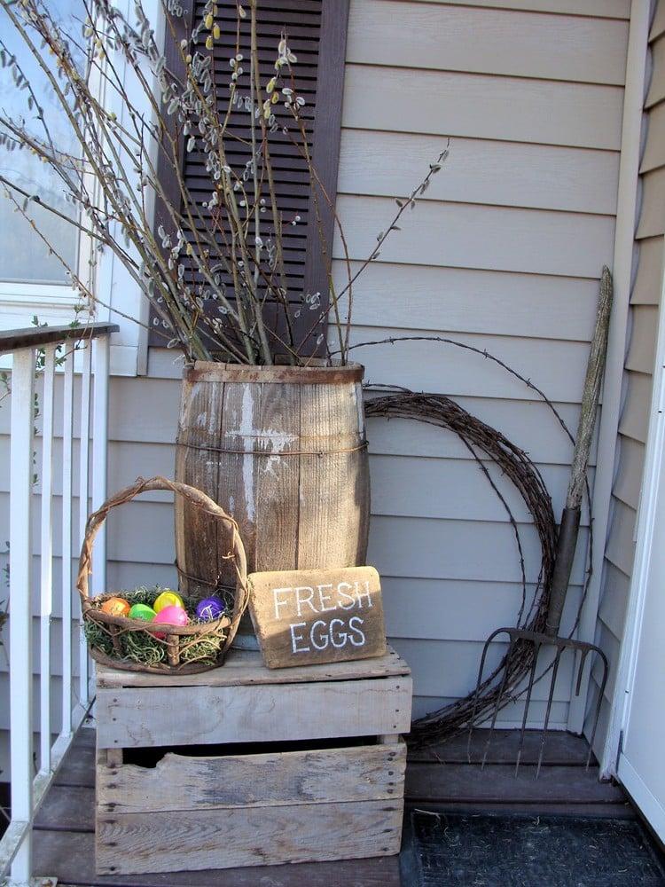 Frühlingsdeko aus Holz selber machen Terrasse