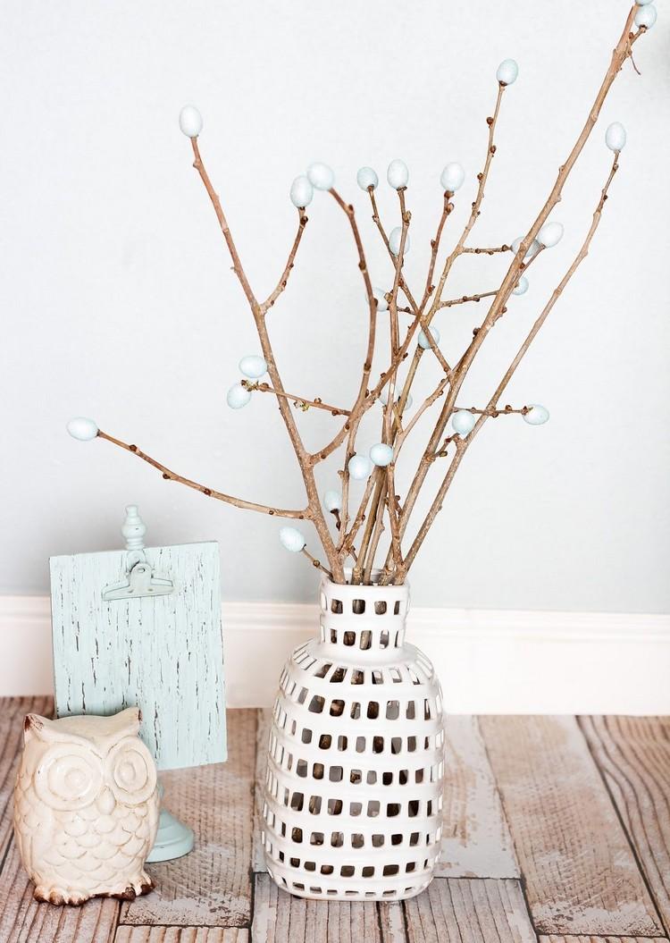 Frühlingsdeko aus Holz selber machen minimalistisch Ostern