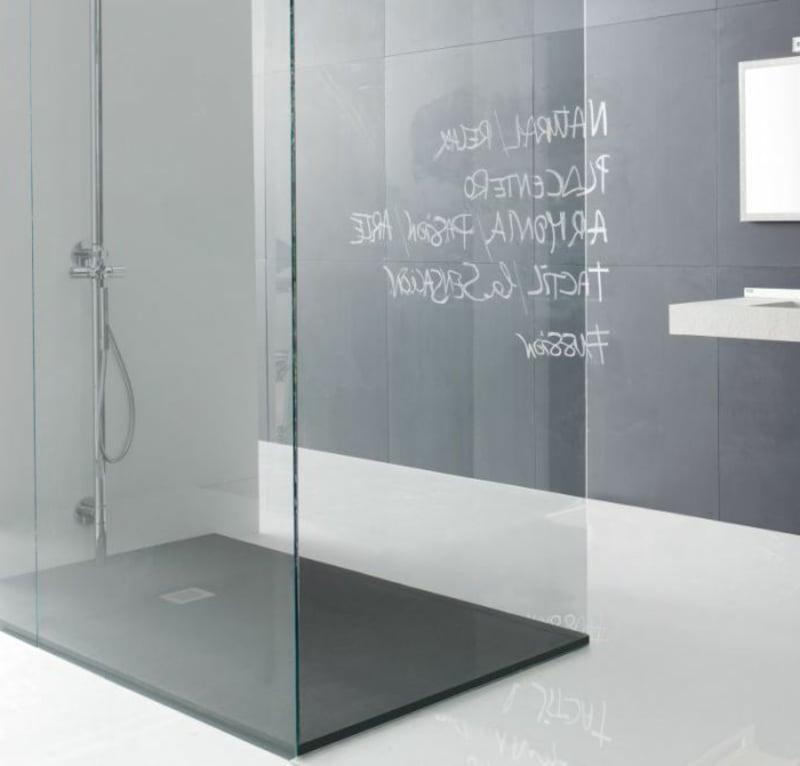begehbare Dusche ebeberdig Spritzschutz Glaswand