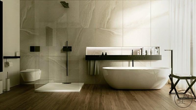 Badezimmer Wanne bodengleiche Dusche