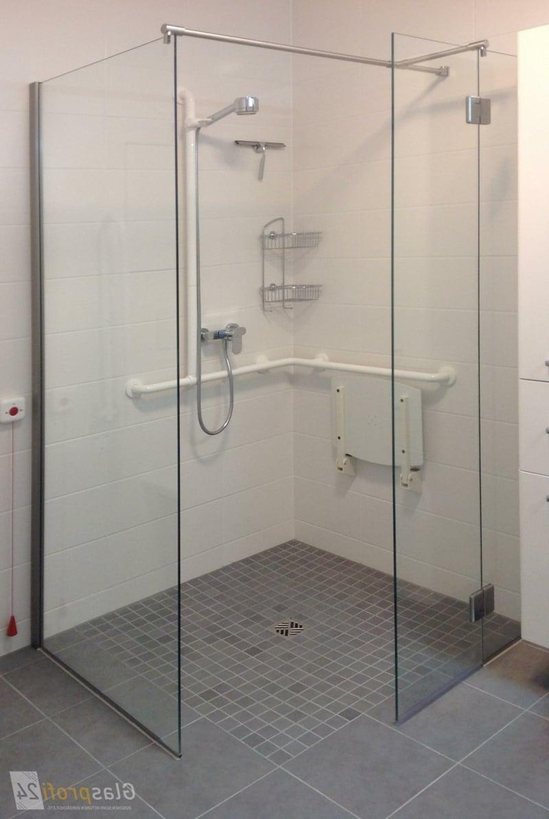 begehbare Dusche Glaskabine Einsteig breit