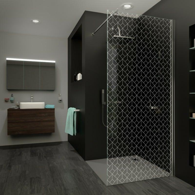 Bad bodengleiche Dusche Spritzschutz dekorative Glaswand
