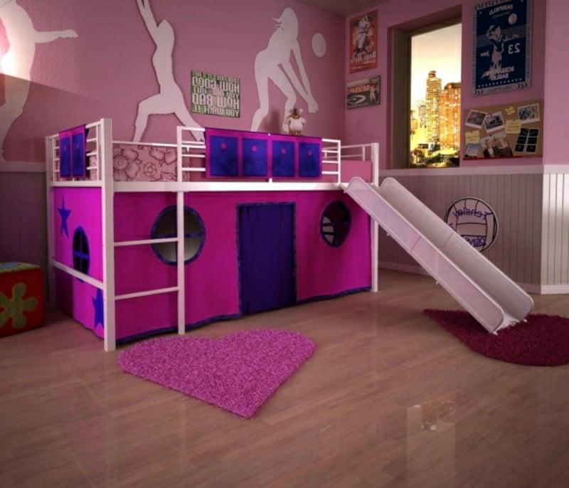 Kinderbett tolle Ideen pink lila