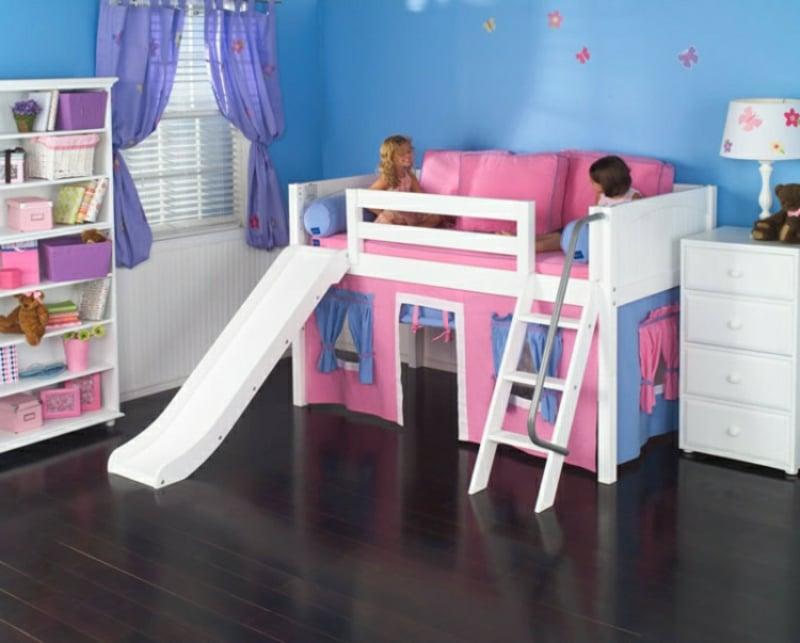 Hochbett mit Rutsche rosa dekorieren Mädchenzimmer