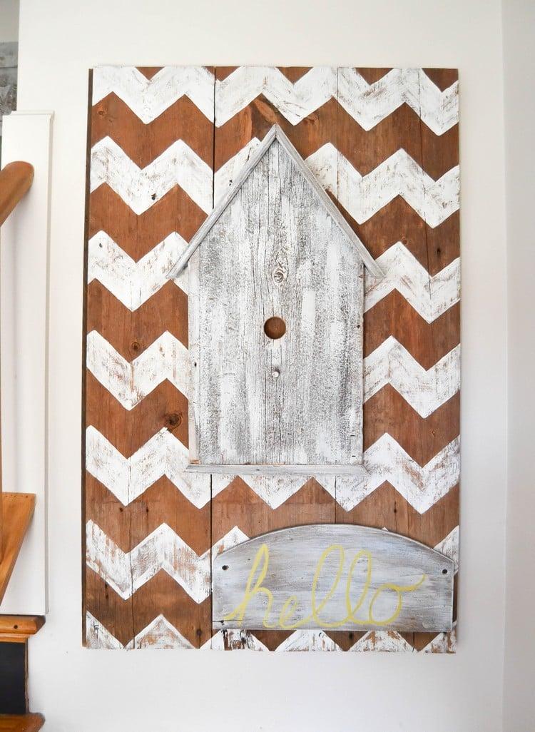 Wanddeko basteln Bild Vogelhaus