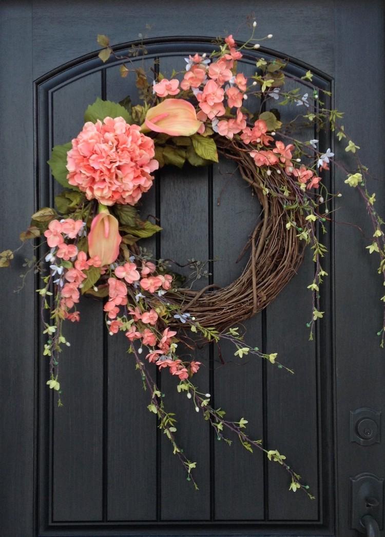 Kranz basteln Frühlingsblumen Weidenzweige