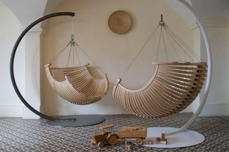 Hängesessel mit Gestell Sitz Holz super modern