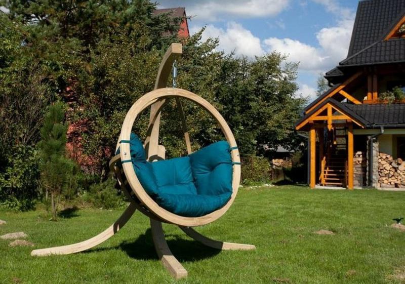 Hängesessel mit Gestell Massivholz Garten