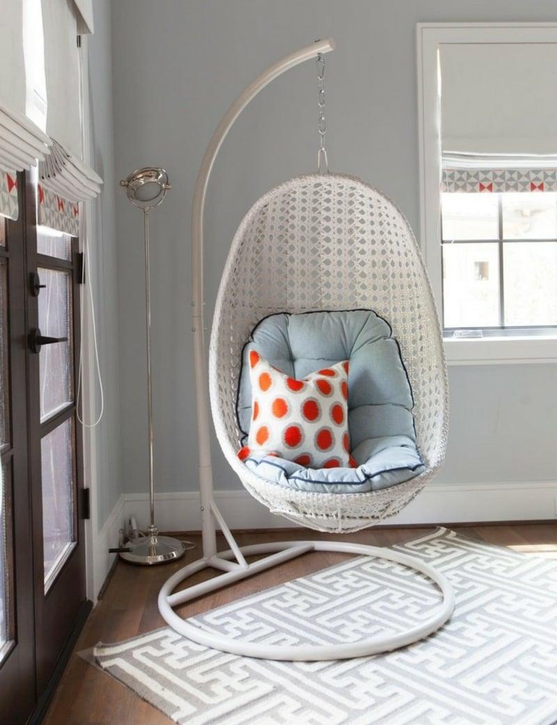 Sessel hängend Kunstgeflecht weiß herrliches Design
