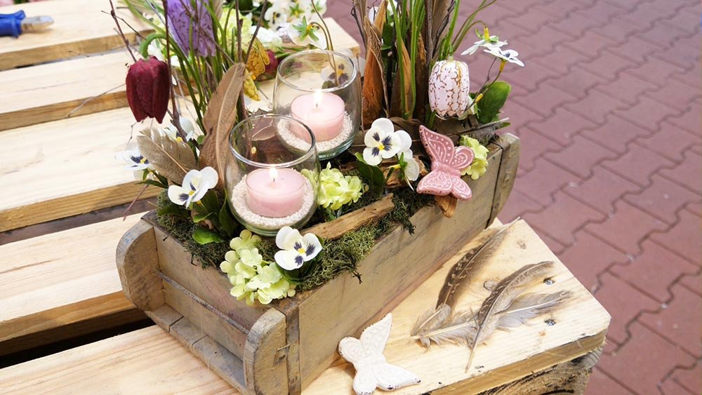 Frühlingsdeko aus Holz selber machen Kerzenhalter