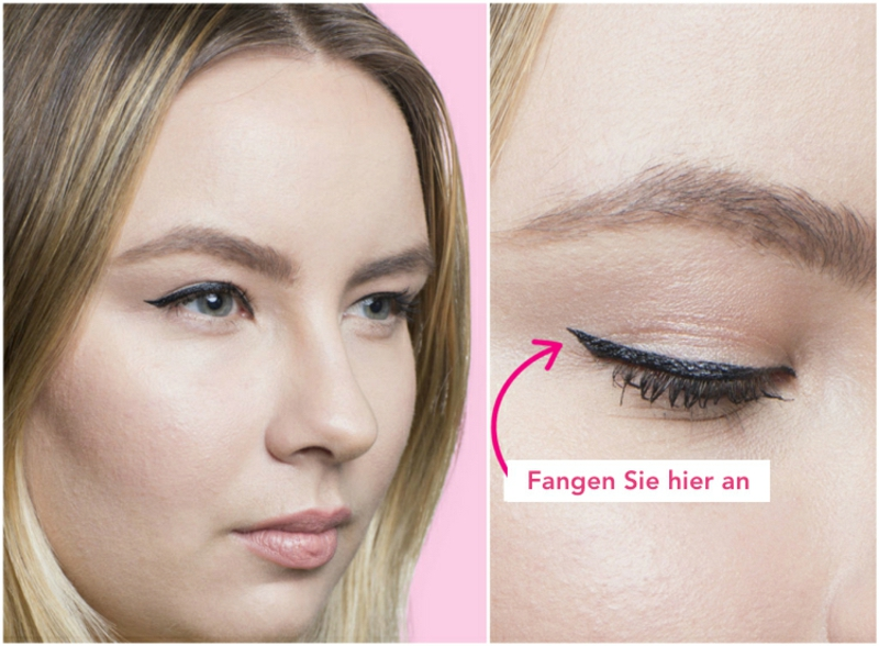 Augen größer schminken Eyeliner auftragen
