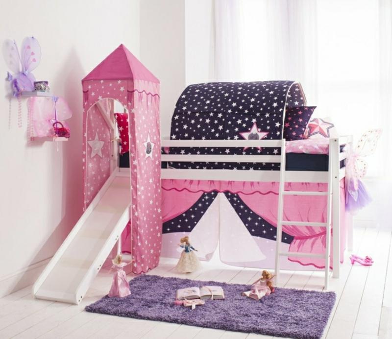 Hochbett mit Rutsche dekorieren Stoff Mädchenzimmer
