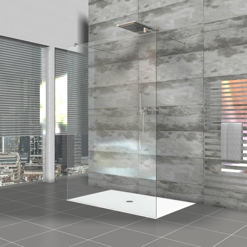 begehbare Dusche Glaswände Akzentwand graue Fliesen