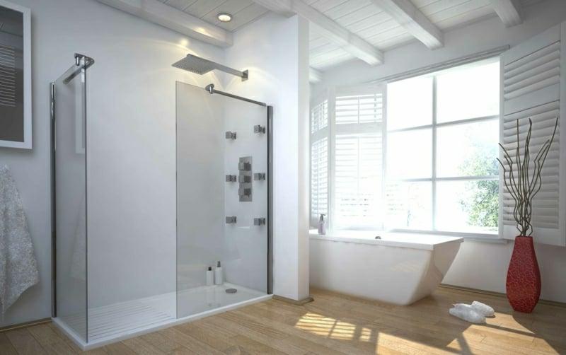 begehbare Dusche modernes Bad mit Badewanne
