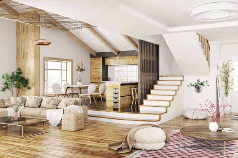 modernes Wohnzimmer mit Orientteppich Muster geomatrisch
