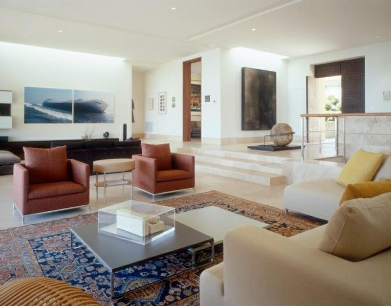 Perserteppich Blau und Golden Wohnzimmer