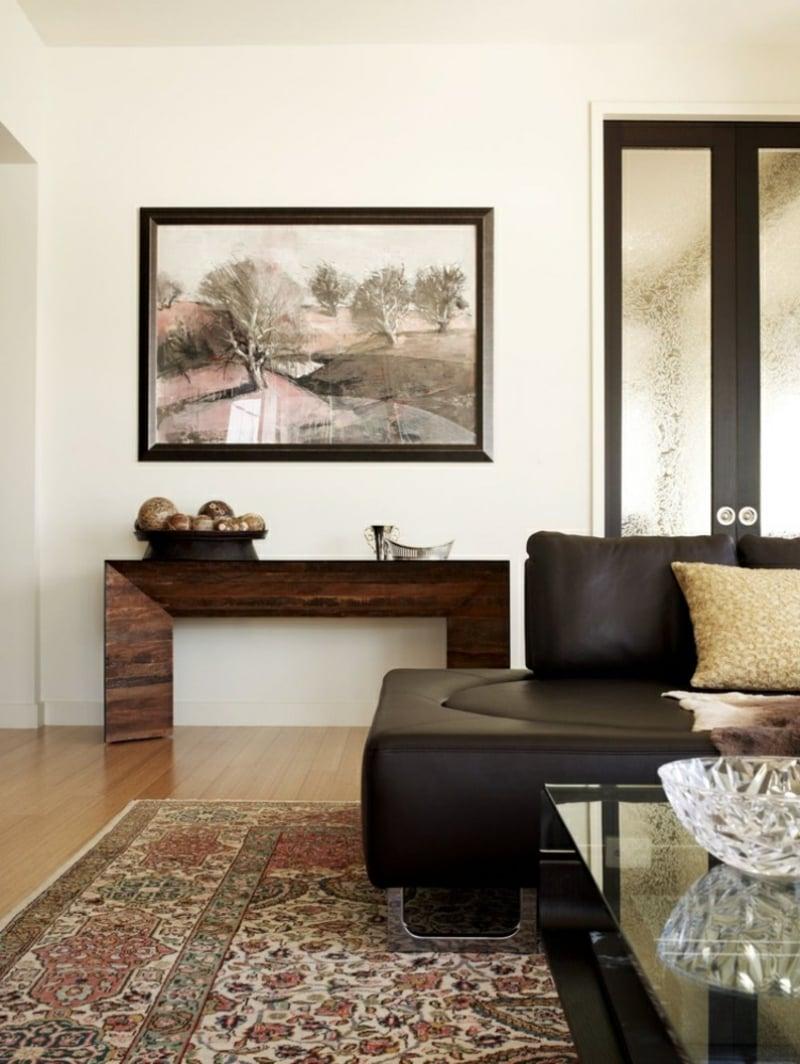 Orientteppich Wohnzimmer Akzentwand mit Bild