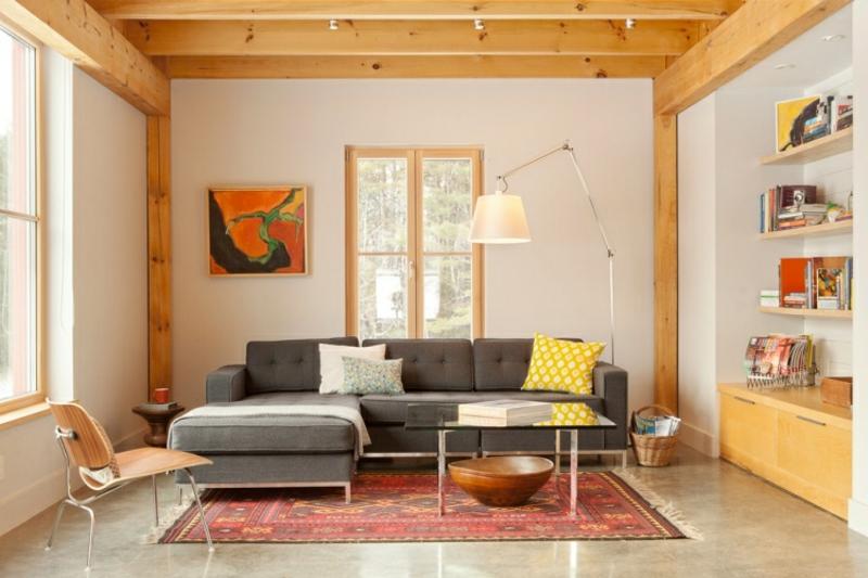Perserteppich rot Wohnzimmer graue Polstermöbel