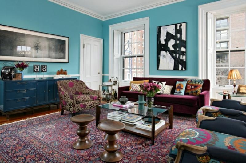 Orientteppich Wohnzimmer Wandfarbe Hellblau gemütlich