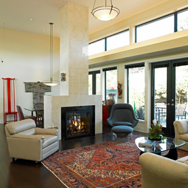 Perserteppich Wohnzimmer Kamin gemütlich