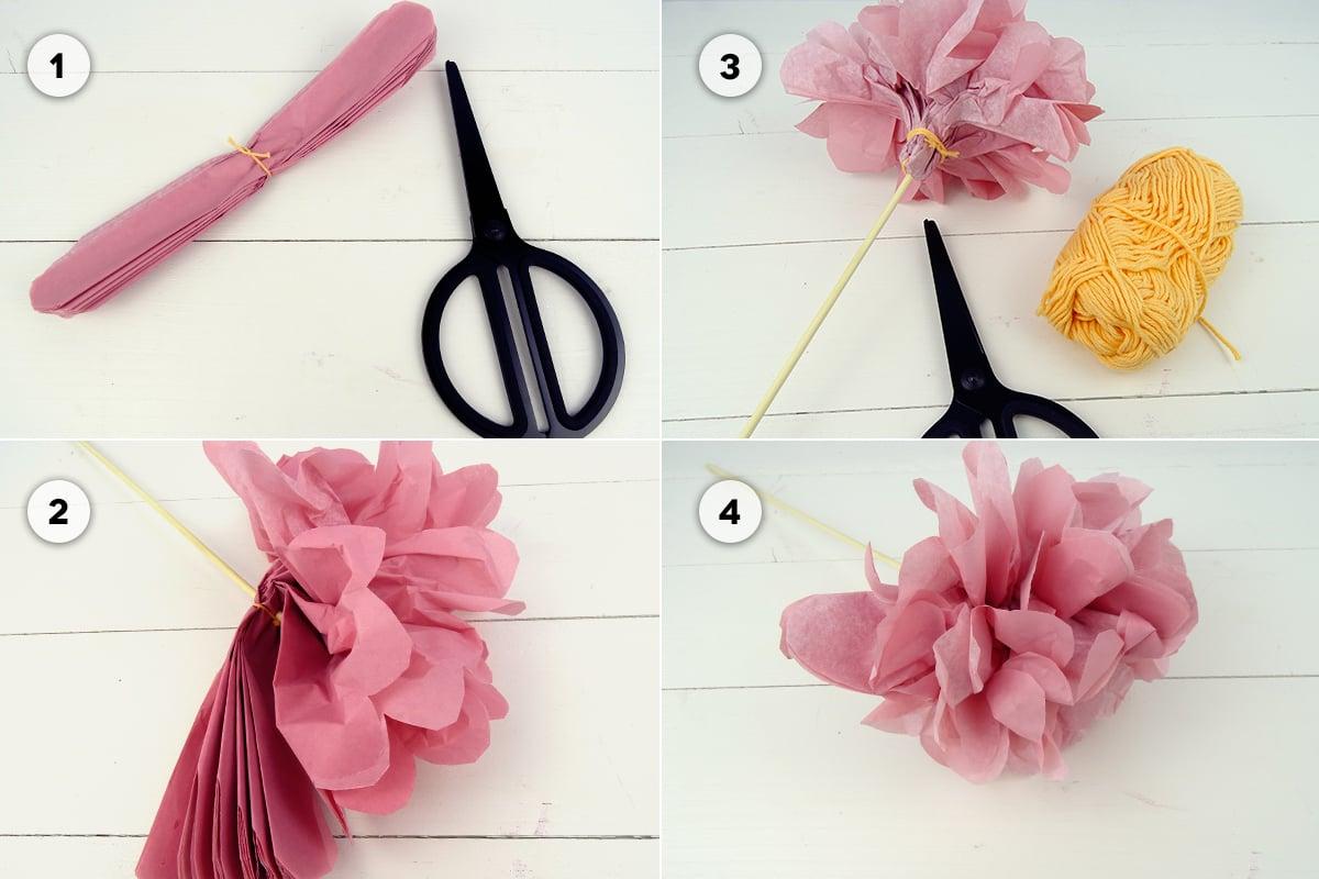 Blumen basteln Seidenpapier kreative Idee