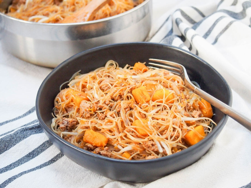 Nudeln ohne Kalorien Reisnudeln mit Kürbis