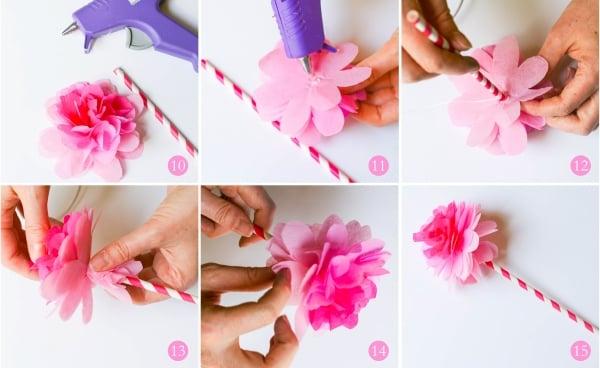 Rose basteln aus Seidenpapier Bilderanleitung