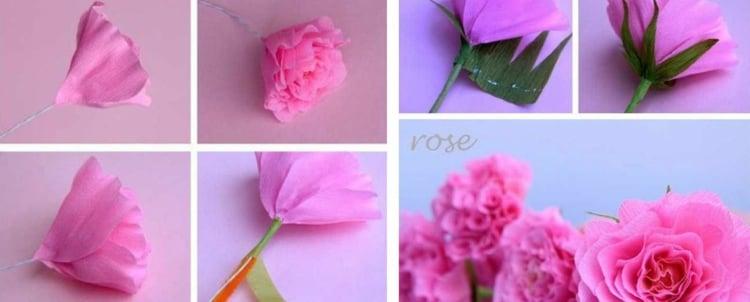 Rosen basteln kreative Ideen