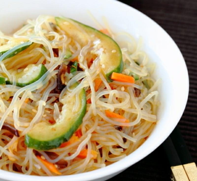 Nudeln ohne Kalorien Shirataki mit Avocado