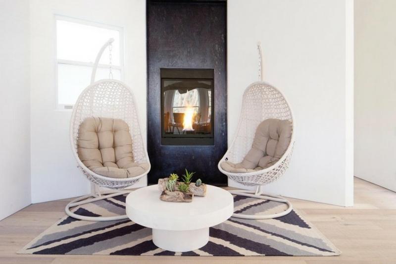 Hängesessel mit Gestell gemütliche Sitzecke Wohnzimmer