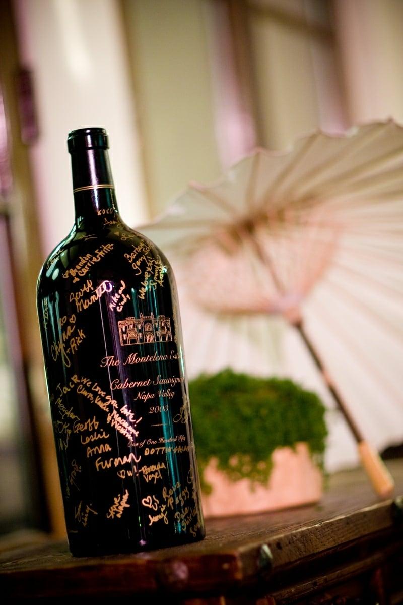 schreiben auf Weinflasche kreative Idee
