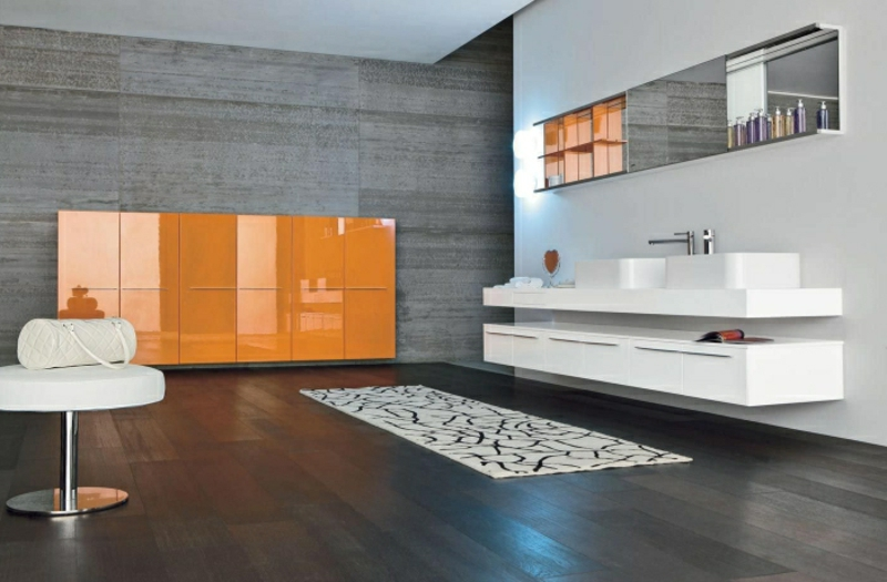 Badezimmerschrank in Orange Hochglanz modern