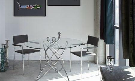 runder Esstisch Designer Modell Basis Edelstahl