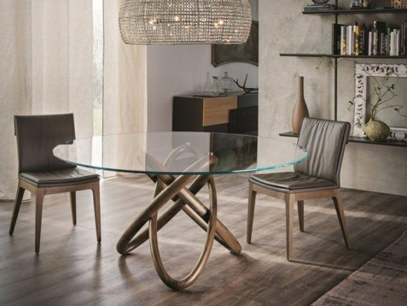 Designer Küchentisch Glasplatte Beine Holz