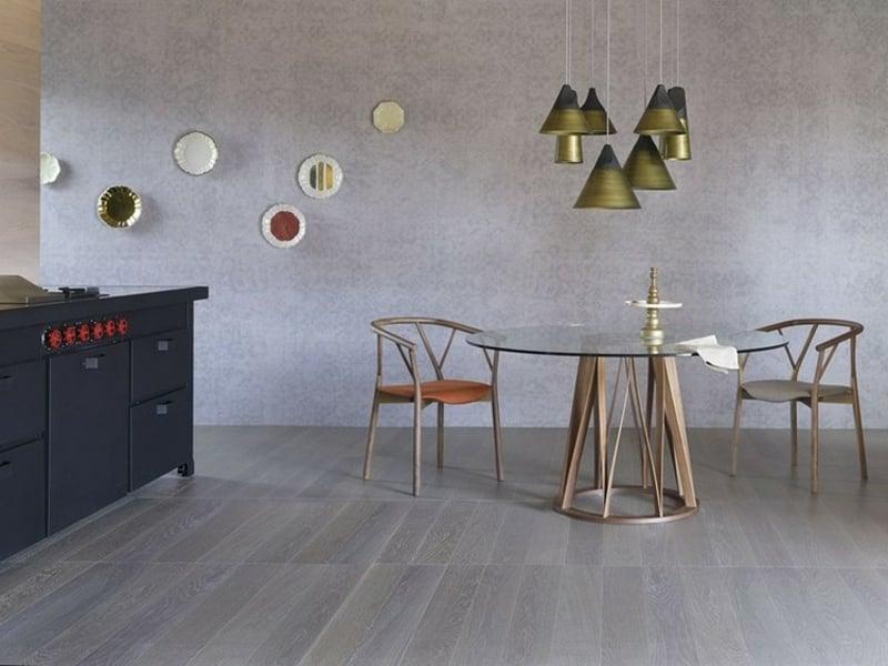 runder Esstisch Holzbasis Glasplatte Designer Modell