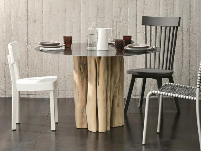 Küchentisch rund Holzbasis rustikaler Look