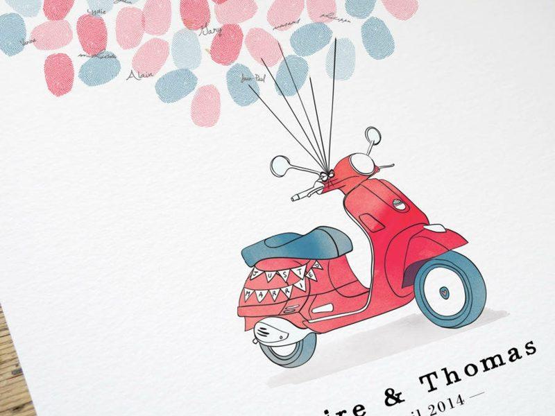 Gästebuch Hochzeit Scooter Fingerabdrücke