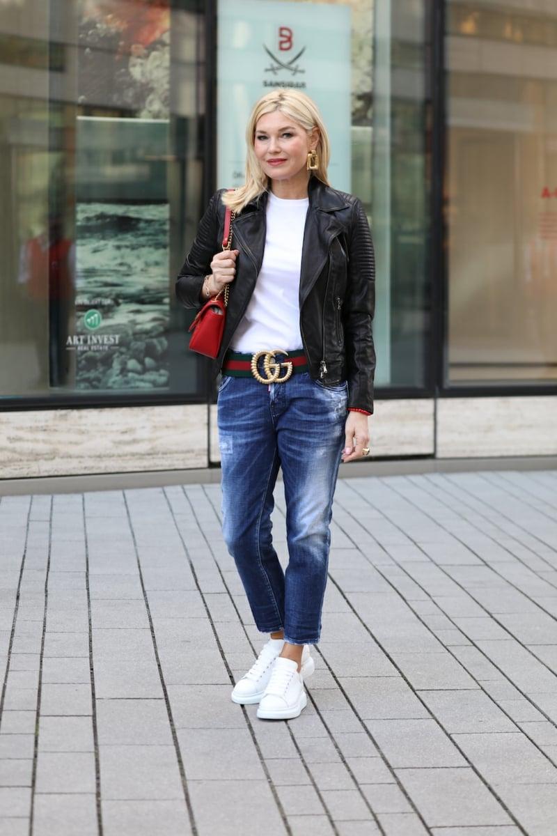 Gucci Gürtel groß breit Jeans Lederjacke