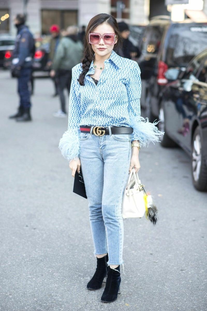 Gucci Gürtel stilvoll Hemd Jeans Sonnenbrillen