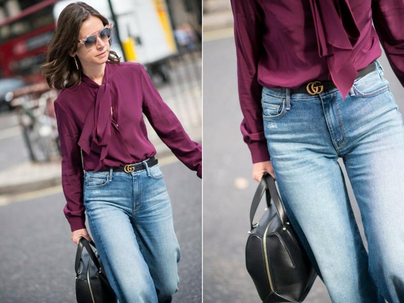 modischer Outfit Jeans lila Hemd