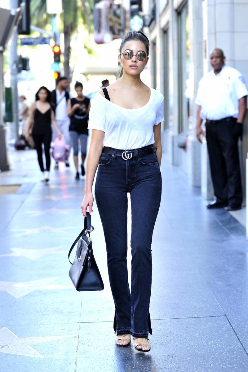 High Waist Jeans Top Sonnenbrillen