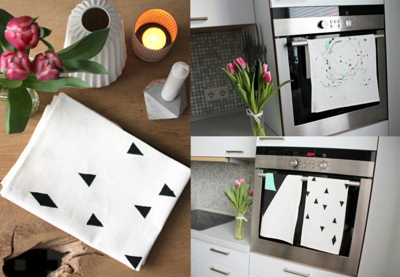 Kissenhülle verzieren geometrische Motive Stempel
