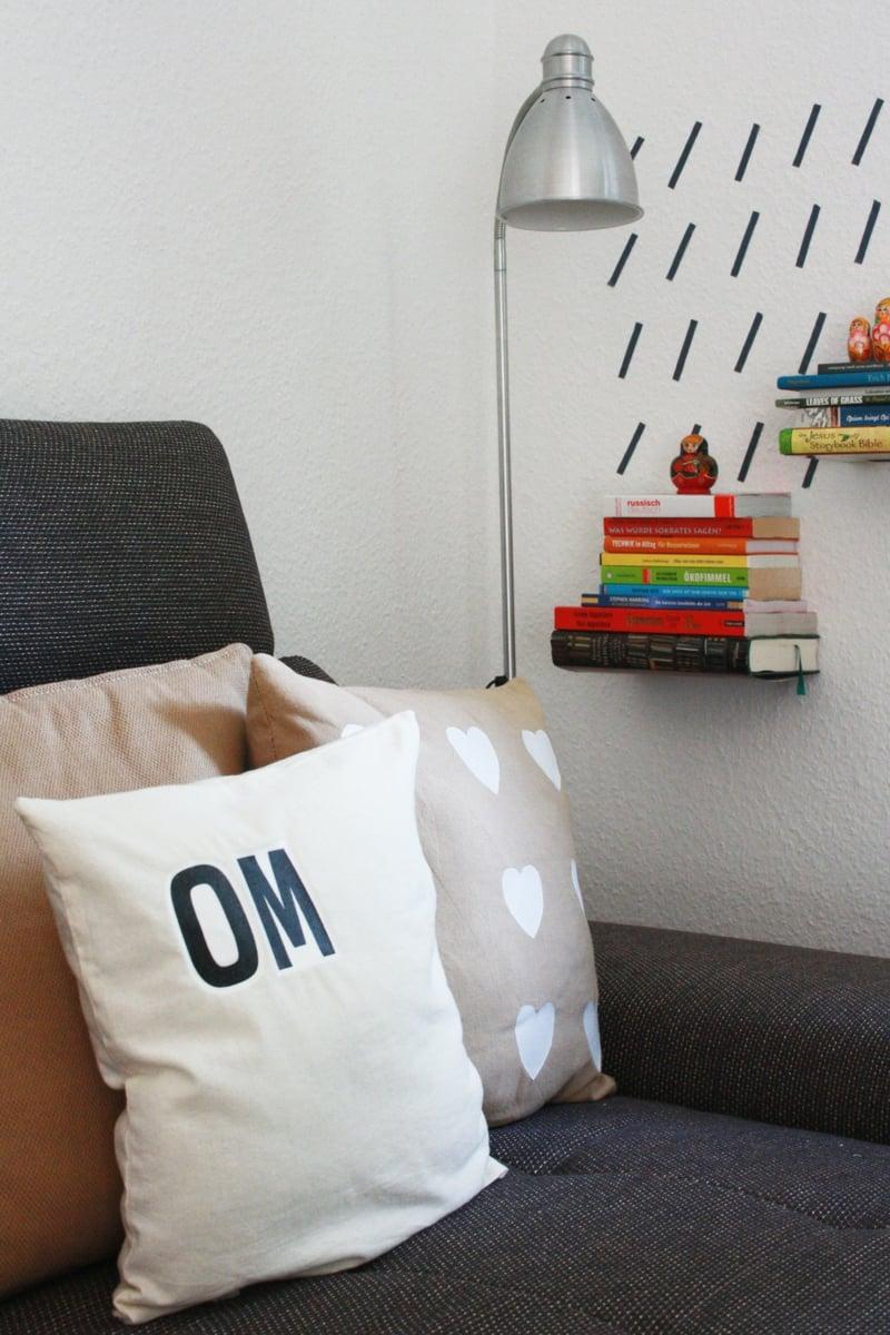 Kissen bedrucken mit Plastiktüten Buchstaben