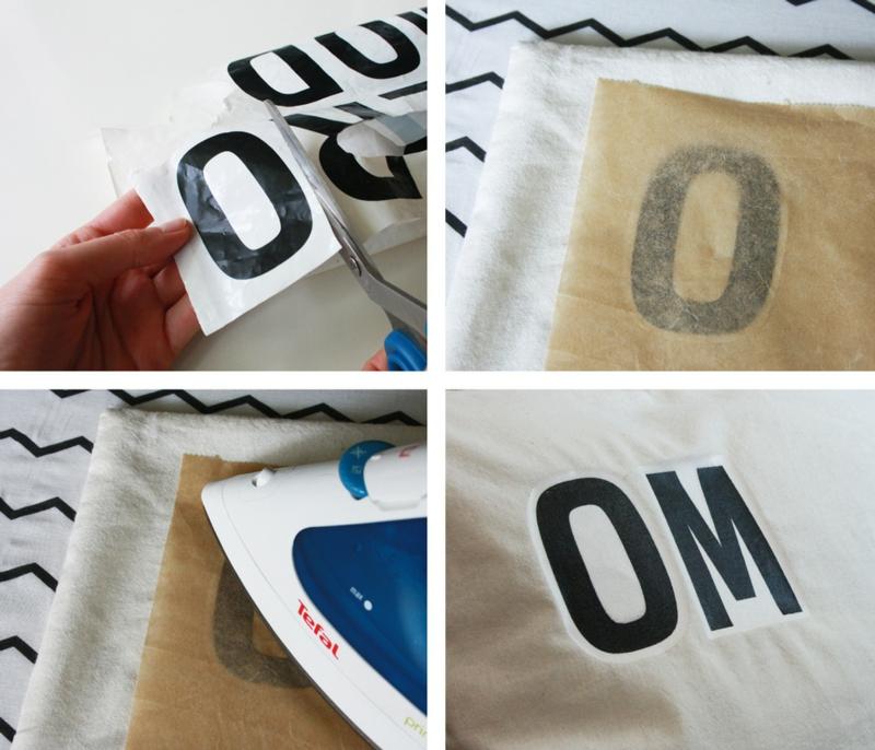 Kissen bedrucken Plastiktüten Bügeleisen