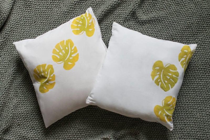 Kissen selbet verzieren Blättermotive
