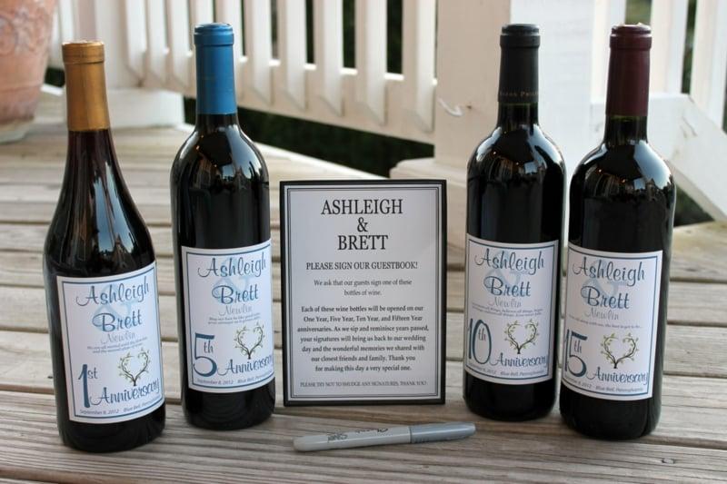 Gästebuch Hochzeit Weinflaschen originelle Idee