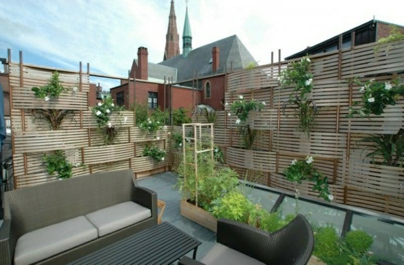 Sonnenschutz Balkon ohne bohren vertikaler Garten