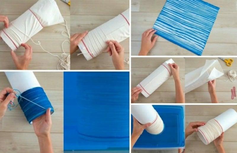 DIY Streifen japanische Shibori Technik