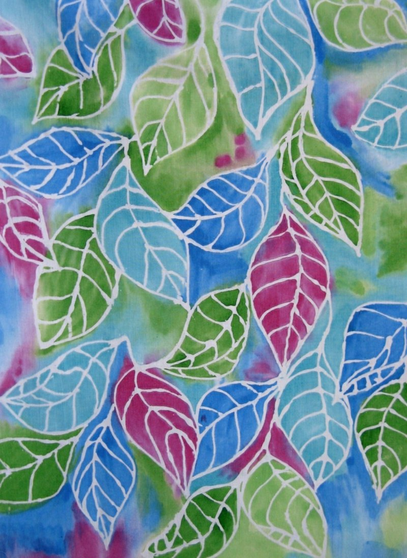 mit Wachs Stoffe dekorieren tolle Idee Blätter